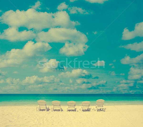 Bağbozumu şezlong fotoğraf gökyüzü su doğa Stok fotoğraf © szefei