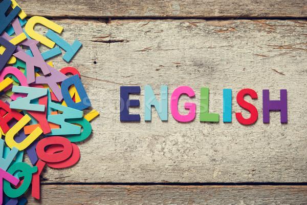 Angol színes szavak fából készült levelek köteg Stock fotó © szefei