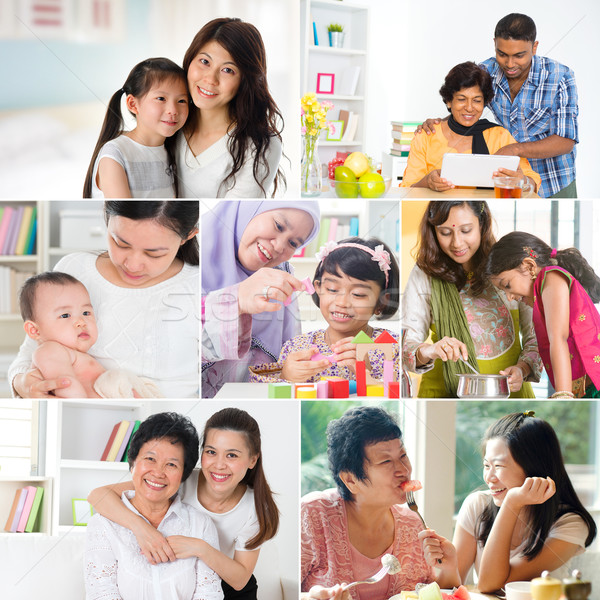 Collage photo of mothers and offsprings Stock photo © szefei
