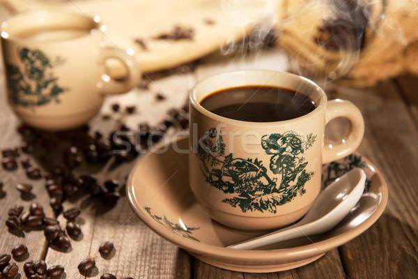 Traditional style Nan Yang coffee in vintage mug Stock photo © szefei