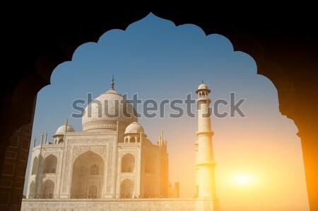 Taj Mahal kilátás mögött szeretet tájkép világ Stock fotó © szefei