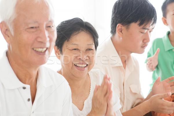 счастливым азиатских дома откровенный семьи Сток-фото © szefei