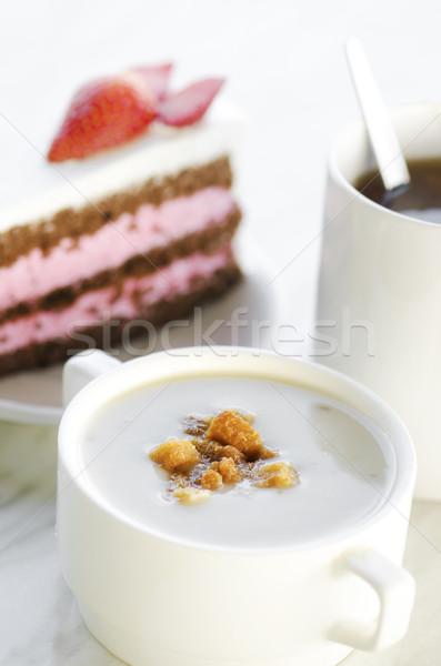 Champignon soep toast thee natuurlijke Stockfoto © szefei