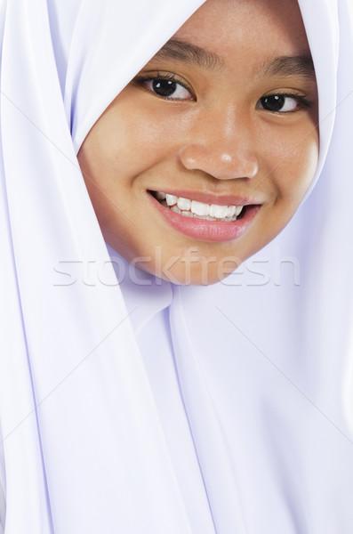 Sudeste asiático muçulmano menina doze anos Foto stock © szefei