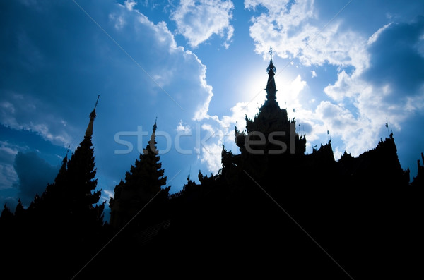 Silhouette of Shwedagon Paya Stock photo © szefei