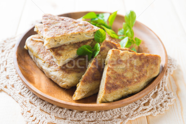 Stuffed pancake or pan-fried bread murtabak Stock photo © szefei