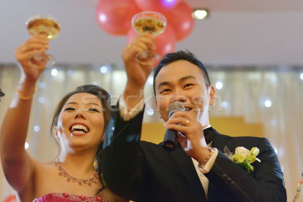 Stockfoto: Bruiloft · partij · champagne · natuurlijke · openhartig