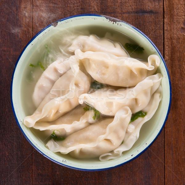 Top view Asian food dumplings soup  Stock photo © szefei