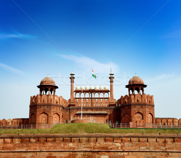 Inde Delhi rouge fort complexe empereur Photo stock © szefei