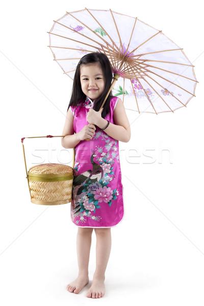 オリエンタル 少女 伝統的な 中国語 ドレス ストックフォト © szefei