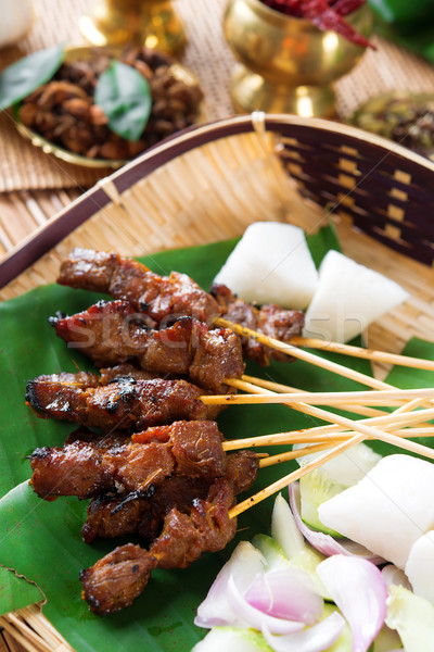 Satay Singapore food Stock photo © szefei