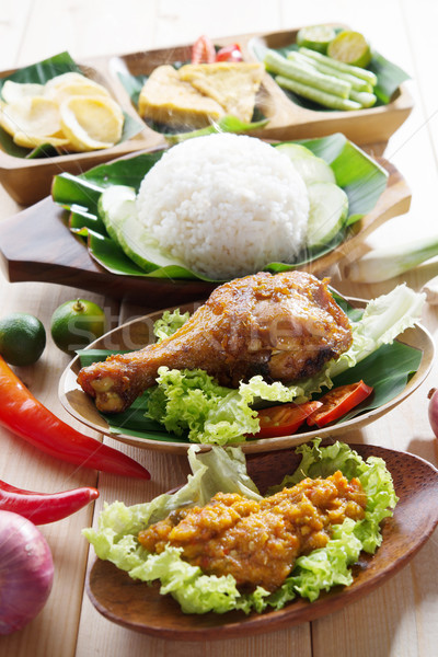 Stock photo: Malay fried chicken rice