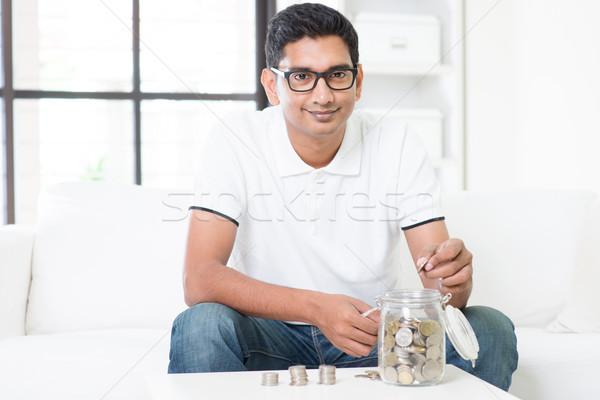 Foto d'archivio: Investimento · indian · ragazzo · soldi · vetro
