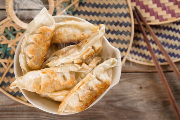 Top view Asian food fried dumplings Stock photo © szefei