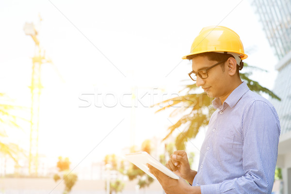 Asian Indian male contractor engineer  Stock photo © szefei