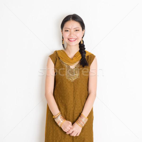 Indian Chinese woman in sari Stock photo © szefei