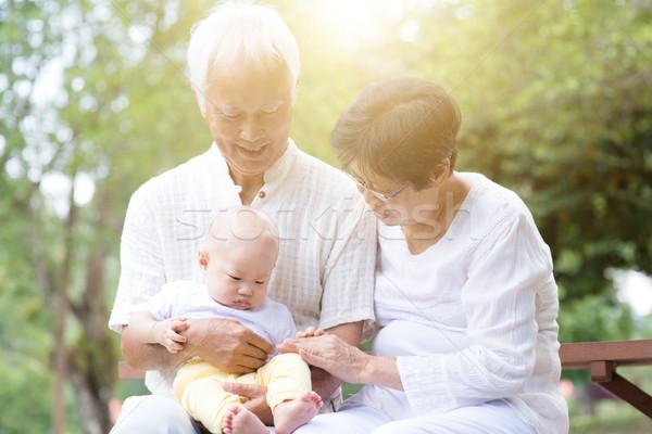 Abuelo abuela nieto pareja de ancianos bebé Asia Foto stock © szefei