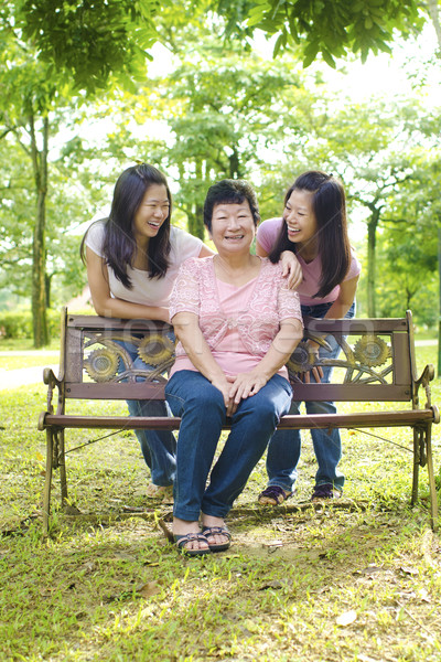 Asian mother and daughters Stock photo © szefei