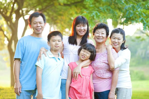 Outdoor family with great smile Stock photo © szefei