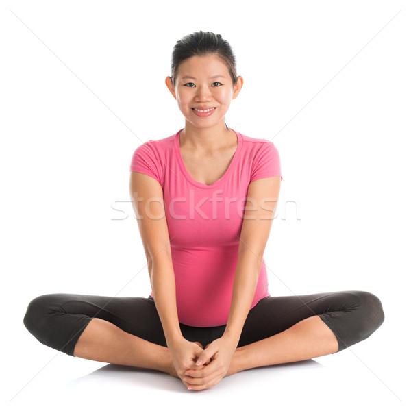 Zwangere yoga vlinder positie prenataal Stockfoto © szefei