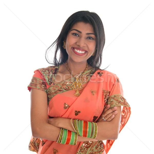 Indian woman in sari dress Stock photo © szefei