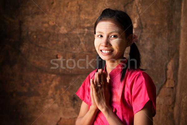 Myanmar ragazza tradizionale mani faccia studente Foto d'archivio © szefei