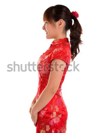 Zijaanzicht chinese meisje mooie vrouw Stockfoto © szefei