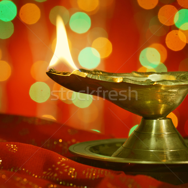 Diwali Öllampe metallic traditionellen indian Lampe Stock foto © szefei
