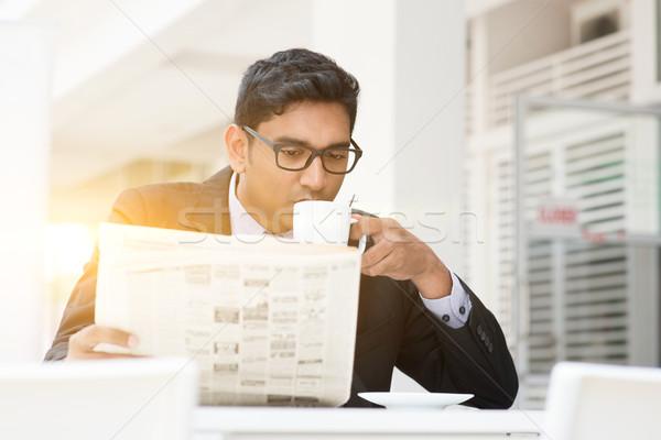 ストックフォト: ビジネスの方々 · 飲料 · ホット · コーヒー · 読む · 新聞