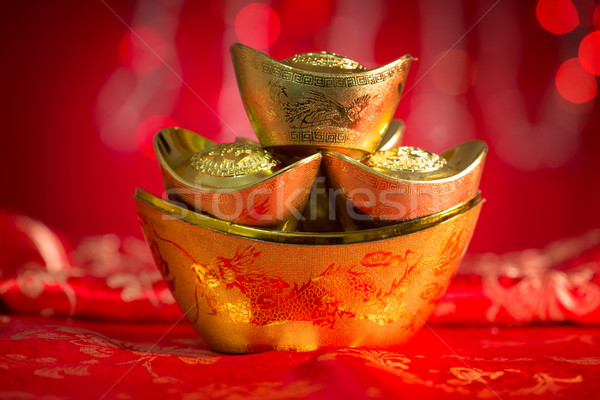 Stock photo: Chinese New Year decorations gold ingots
