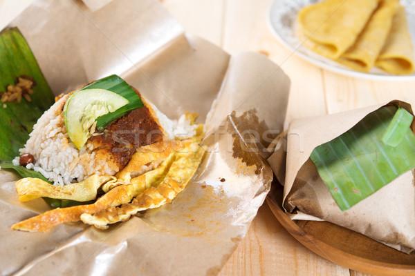 Malaysian rice nasi lemak. Stock photo © szefei
