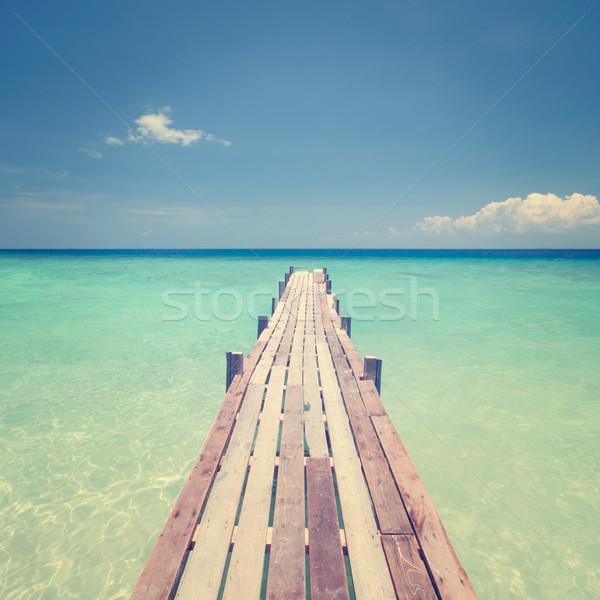 Puente mar muelle isla tropical vista Foto stock © szefei