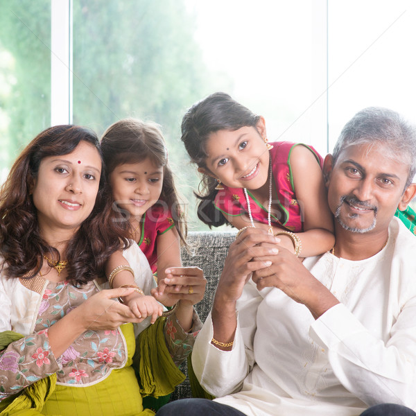 Beautiful Indian family Stock photo © szefei