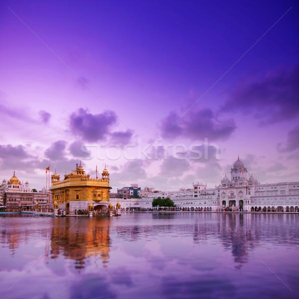Altın tapınak tan güzel gökyüzü su Stok fotoğraf © szefei