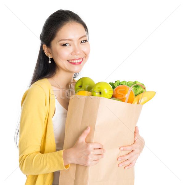 Stok fotoğraf: Bakkal · alışveriş · Asya · kadın · mutlu · genç