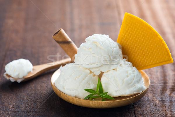 Coconut ice cream plate Stock photo © szefei