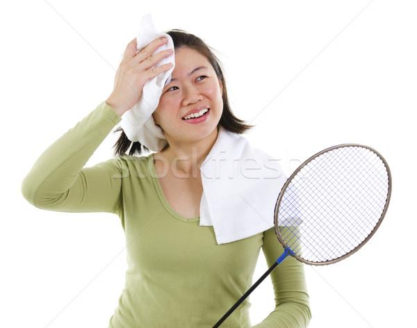 Izzadás tollaslabda ázsiai női játszik játék Stock fotó © szefei