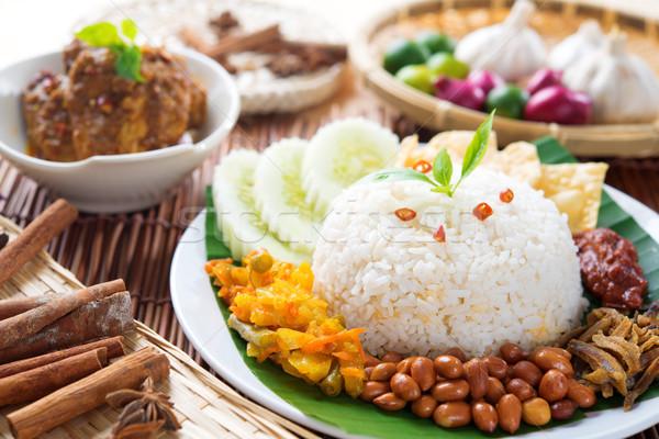 Stock fotó: Malajzia · étel · népszerű · edény · felszolgált · tyúk