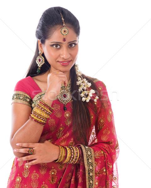 Indian vrouw denken portret mooie jonge Stockfoto © szefei