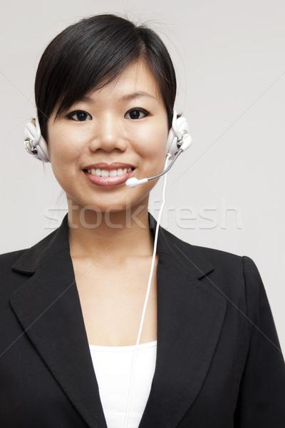 Vásárló képviselő barátságos headset mosolyog telefon Stock fotó © szefei