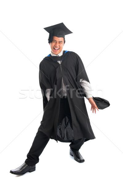 выпускник волнение возбужденный азиатских Сток-фото © szefei