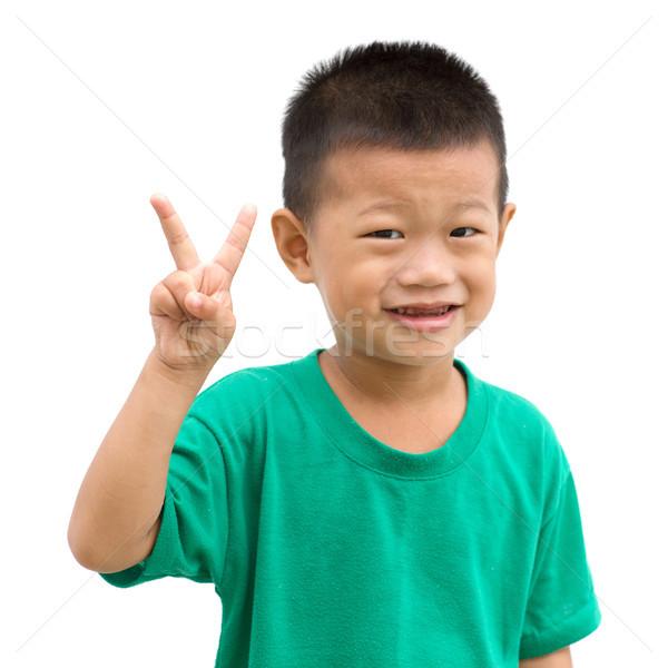 ázsiai fiú mutat szám kettő gyermek Stock fotó © szefei