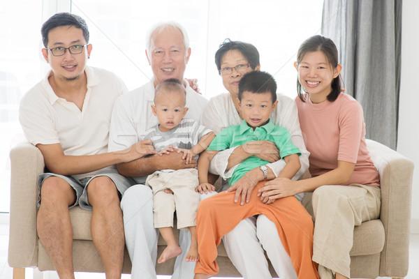 Foto stock: Gerações · retrato · de · família · retrato · feliz · asiático · casa · da · família