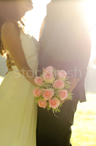 Dancing bride and groom Stock photo © szefei