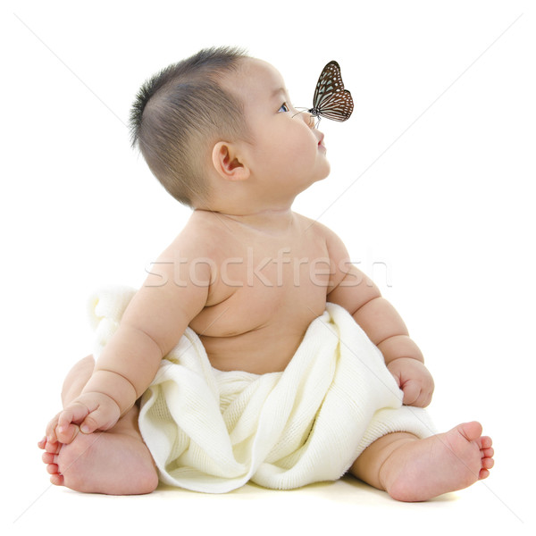 Photo stock: Voir · papillon · battant · asian · bébé · garçon