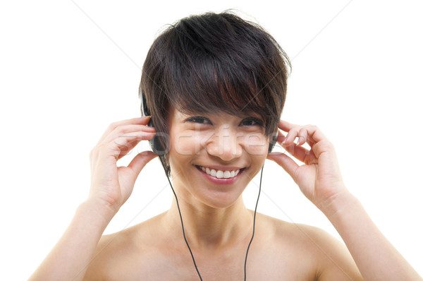Genç kadın rahatlatıcı beyaz kadın müzik Stok fotoğraf © szefei