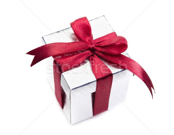 Silver gift box Stock photo © szefei
