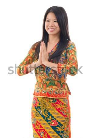 Sudeste asiático mulher saudação tradicional gesto Foto stock © szefei