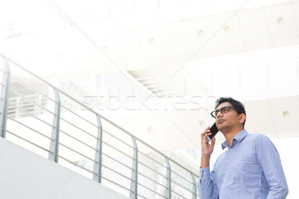 Foto stock: Indiano · empresário · telefone · jovem · asiático · masculino