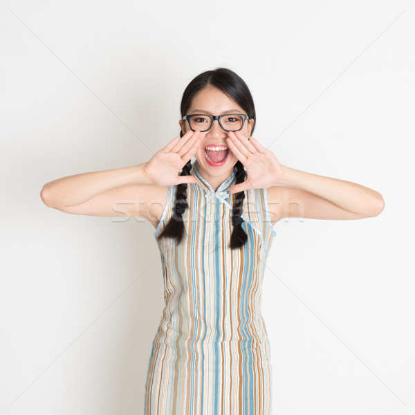 Asian Chinese girl  shouting loud Stock photo © szefei